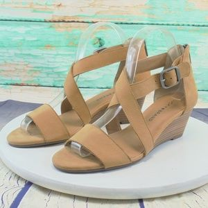 Lucky Brand Jenley Tan Leather Wedge Sandal